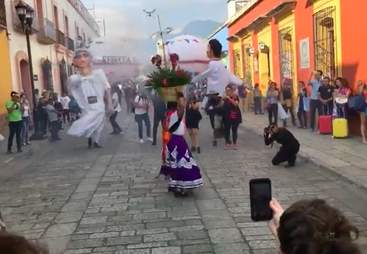 Street dog joins parade in Mexico