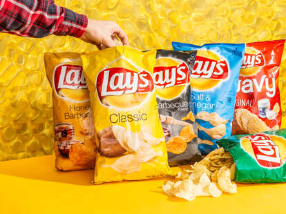 Lay's chips lays potato chip classic sour cream and onion barbecue bbq wavy ranking thrillist