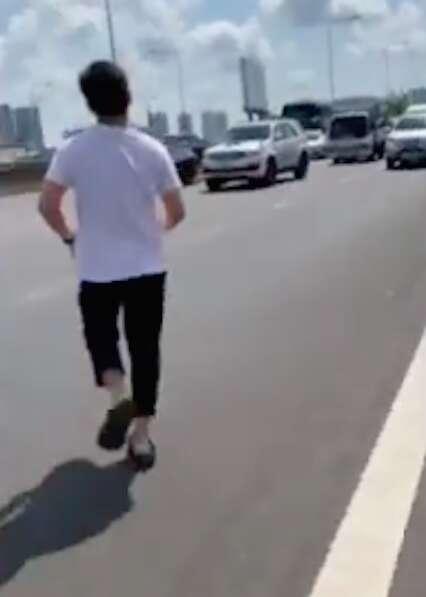 Man saves kitten from Bangkok highway