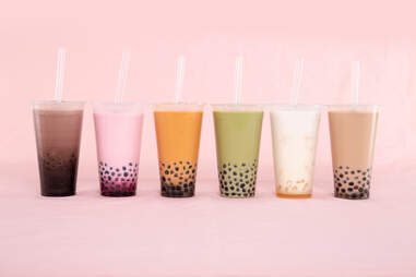 colorful different milk teas with boba