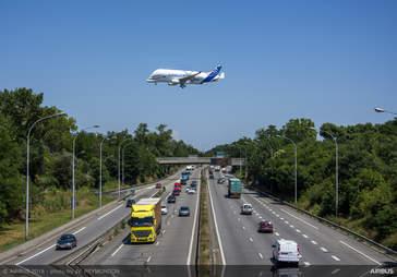 New Beluga XL Airbus taking flight