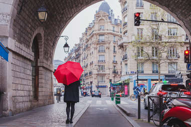 umbrella woman on paris street