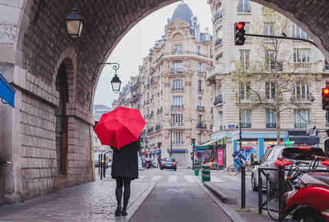 umbrella woman on paris street