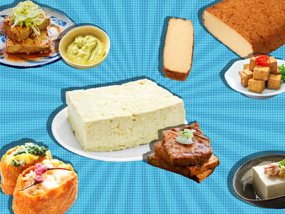 collage of different types of tofu soft silken pockets vegetarian soy bean agedashi