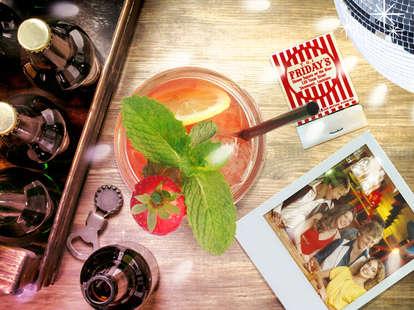 TGIF cocktail, beers, disco ball, and polaroid photo birds-eye-view shot