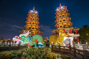 Dragon and Tiger Pagodas at lotus lake, Kaohsiung, Taiwan
