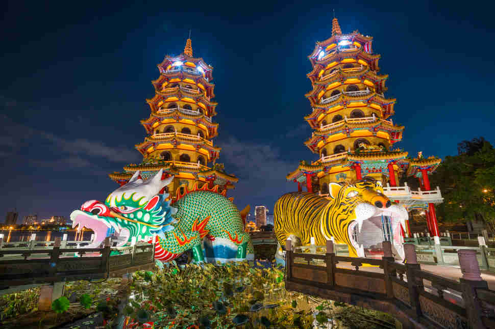 Dragon and Tiger Pagodas at lotus lake, Kaohsiung, Taiwan