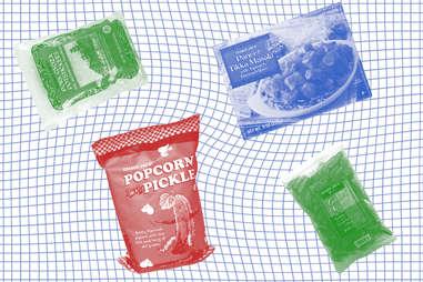 Trader Joe's popcorn pickles tikka masala