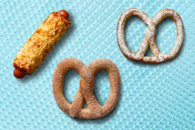 auntie anne's cheese pretzel dog cinnamon sugar pretzel and sour cream and onion pretzel