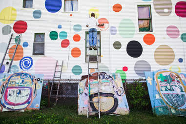 The Heidelberg Street Project is a two-block public art display made up of found objects and unique paint patterns.
