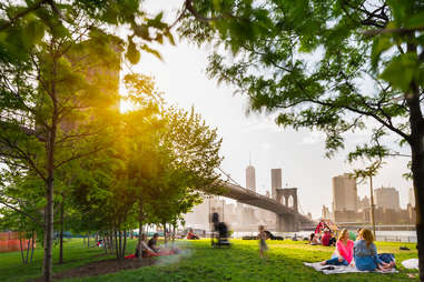 Catch a great glimpse of the NYC skyline at Brooklyn Bridge Park.