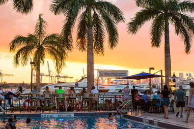 Watch the sun go down from a waterfront bar.