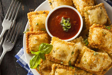 Homemade Fried Ravioli with Marinara Sauce and Basil