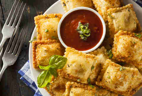 Homemade Fried Ravioli with Marinara Sauce and Basil