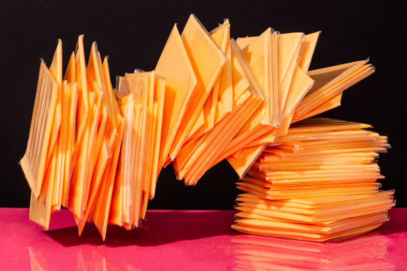 stack of american cheese slices