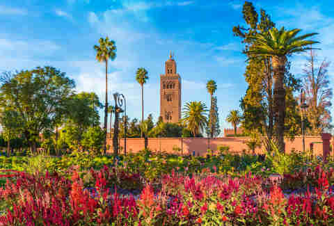 Koutoubia Mosque and gardem in Marrakesh, Morocco