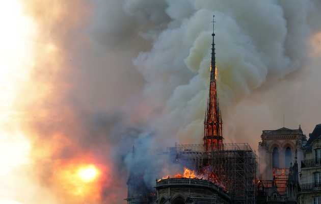Paris' Historic Notre Dame Cathedral Partially Collapses in Massive Fire
