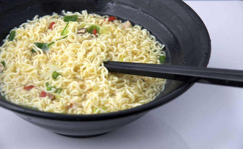 Instant Ramen Noodles in a Cup with Beef Flavoring