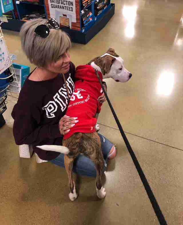 Jessica Banzhof meets homeless pit bull named Cupid