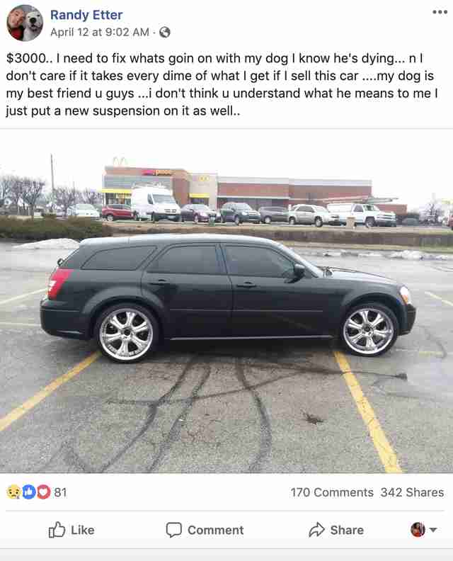 man sells car to save dog