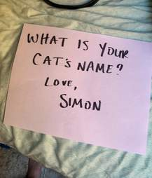 Sign hung in cat's window