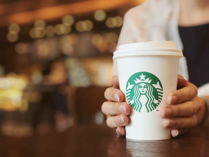 starbucks drink and barista hands