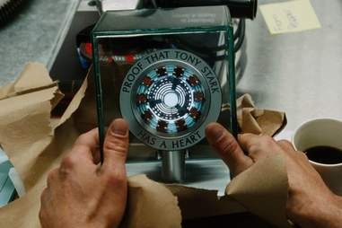 proof that tony stark has a heart plaque