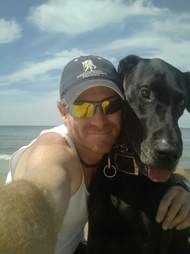 Dog rescuer and his own great dane
