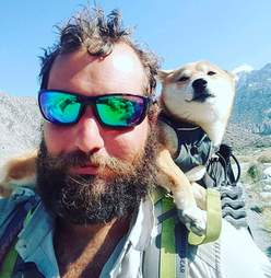 Katana the dog and Kyle Rohrig on the Pacific Crest Trail