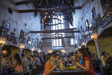 Lines for butterbeer can be nearly as long as the rides -- head to the Leaky Cauldron and enjoy a pint with some food, instead.
