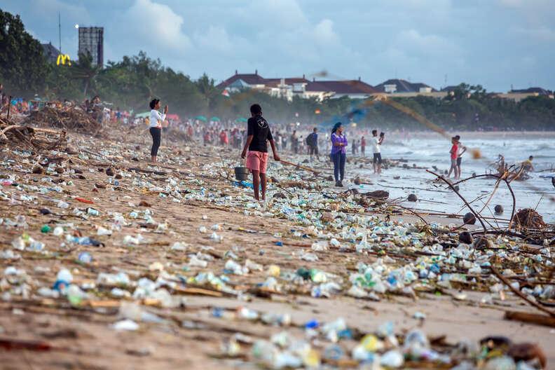 Beach covered in plastic trash