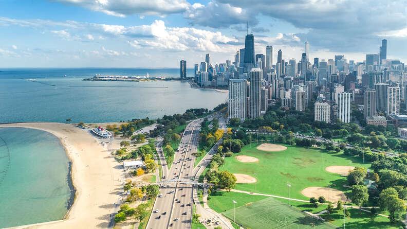 Chicago skyline aerial drone