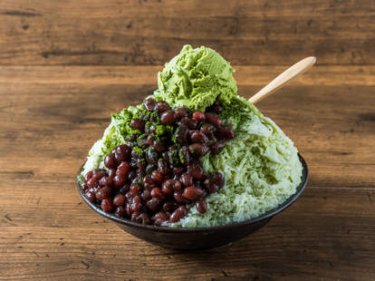 red bean japanese shaved ice green tea matcha beans dessert cream