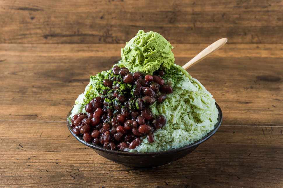 red bean japanese shaved ice green tea