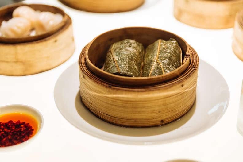 loh mai gai lotus root wrapped rice