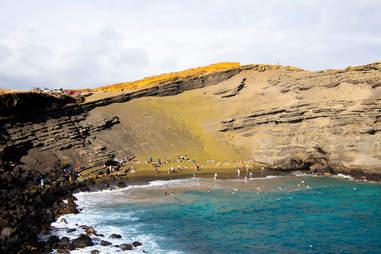 Papakolea Green sand beach