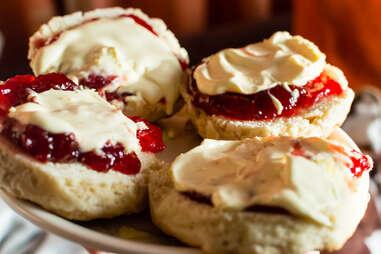 Devon cream scones and Devon custard scon british tea jam