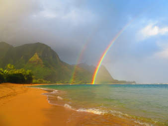 tunnels beach kauai double rainbow