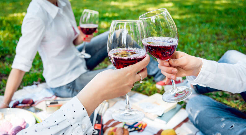 red wine in park