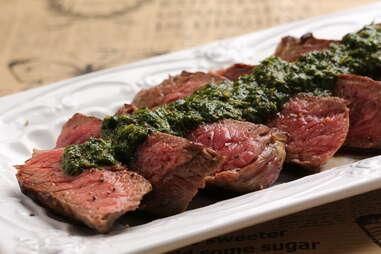 beef with chimichurri sauce