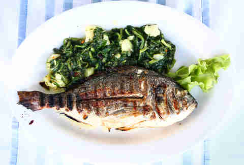 grilled fish and green veggies