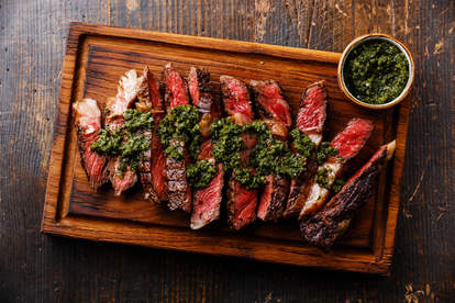 beef steak with chimichurri sauce