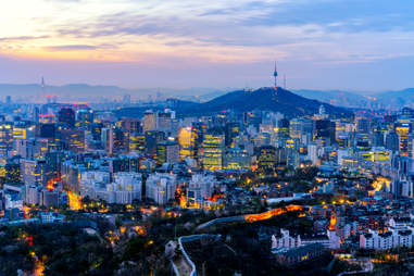 Sunrise scene of Seoul downtown