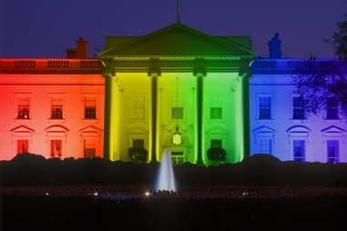 white house lit up rainbow