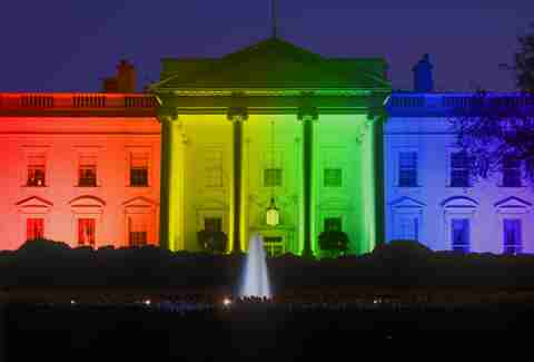 white house lit up rainbow