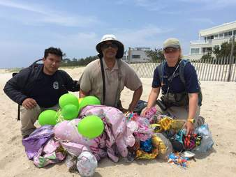 Balloon trash found on a beach