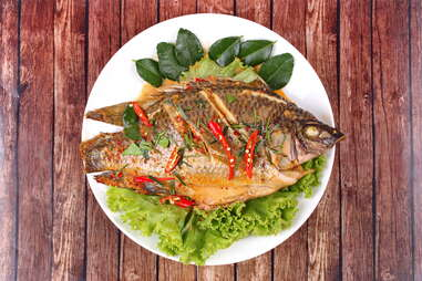 fried tilapia with thai chilies chili spicy seafood sustainable
