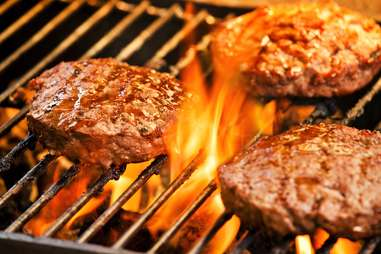 beef patties on grill