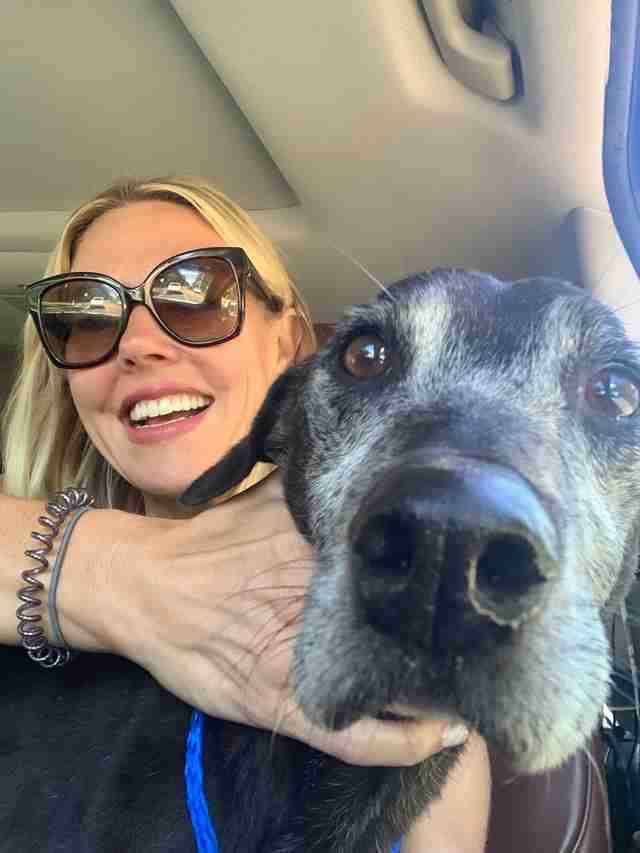Selfie with old dog on freedom ride from shelter