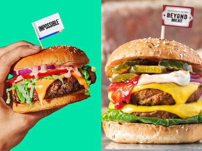 beyond meat and impossible foods burger vegetarian meatless burgers patties patty veg vegan